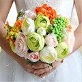 Nueva Llegada 2017 Mágico Colorido Hermosa dama de Honor Nupcial de La Flor ramo de la boda artificial flor rosa ramos de novia