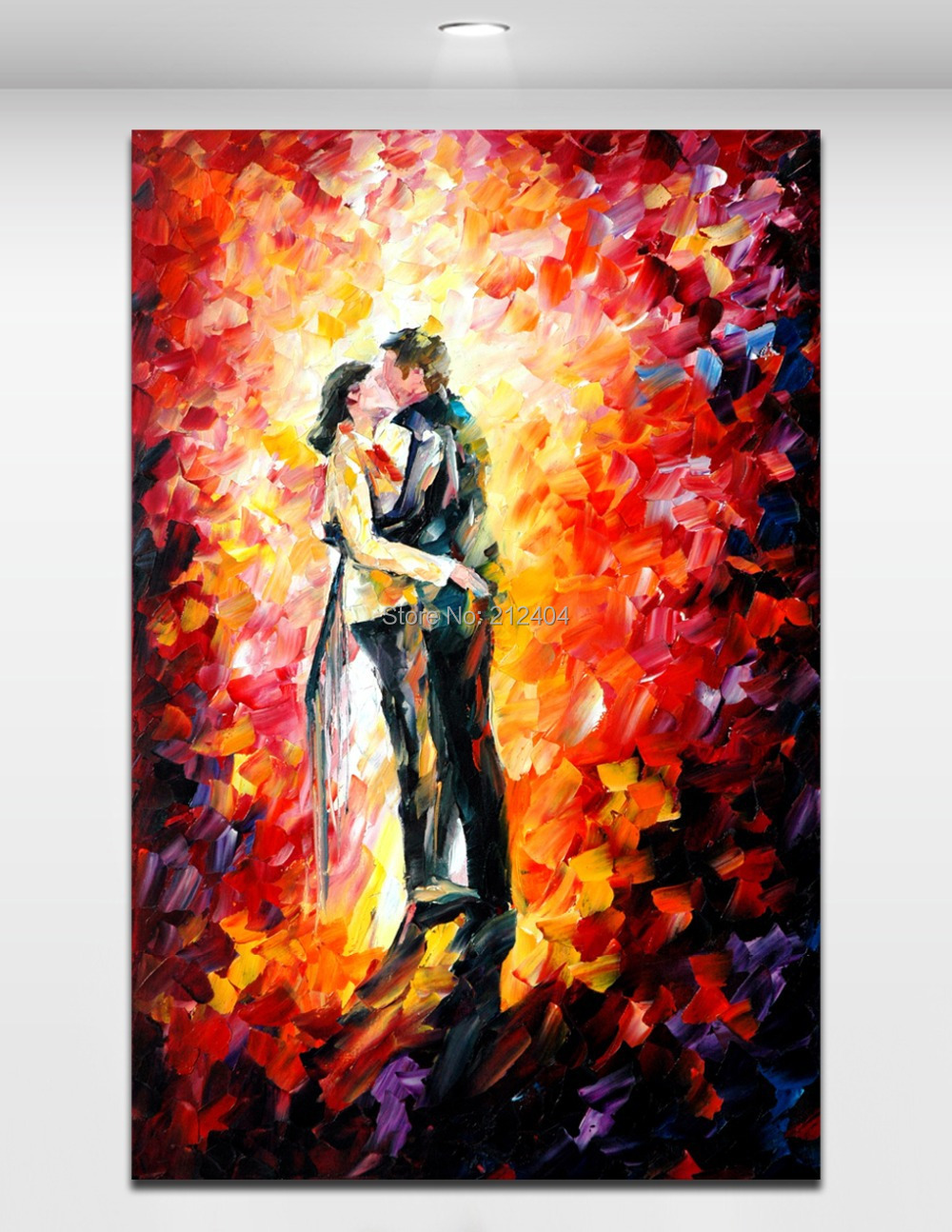 romantic decor home office. Warm Kiss Palette Knife Canvas Oil Painting Printed Pictures For Living Room Wall Home Office Cafe Decoration-in \u0026 Calligraphy From Garden Romantic Decor