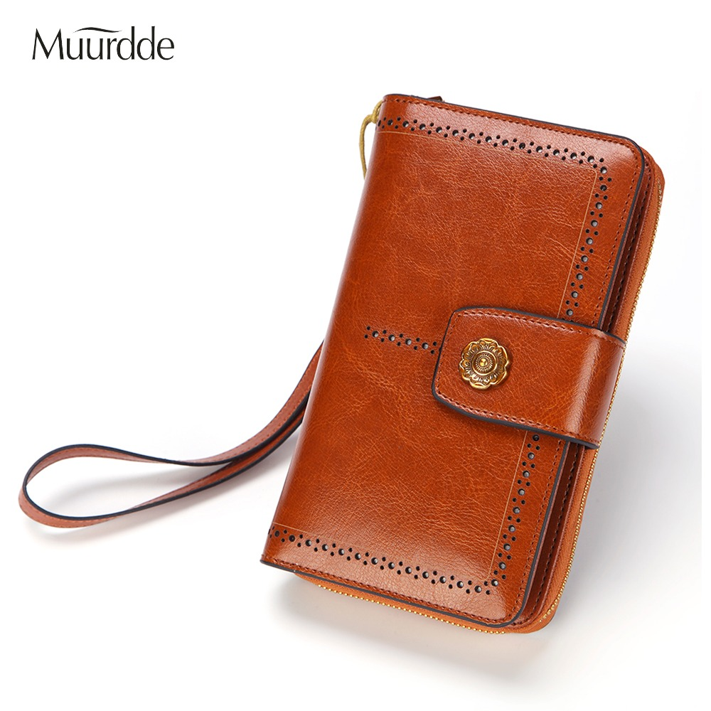 Muurdde Women Wallet Clutch Genuine Leather Wallets Female Organizer Cell Phone Clutches Money Bag Long Zipper Coin Purse Pocket in Wallets from Luggage Bags