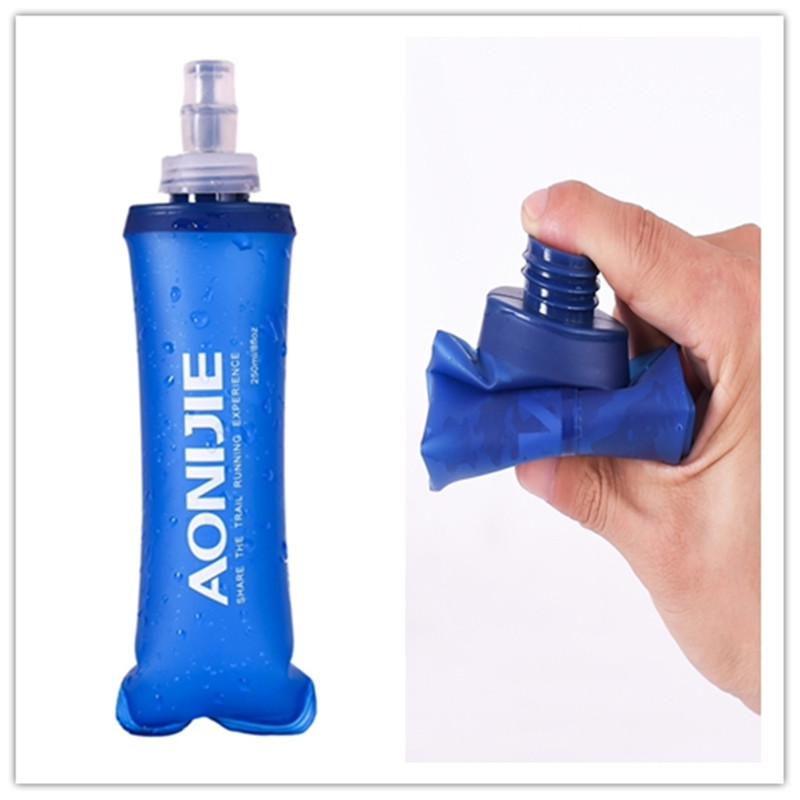 250/500ML Outdoor Camping Hiking Drinking Bottle TPU Soft Flask Compression Foldable Sports Cycling Running Water Bag