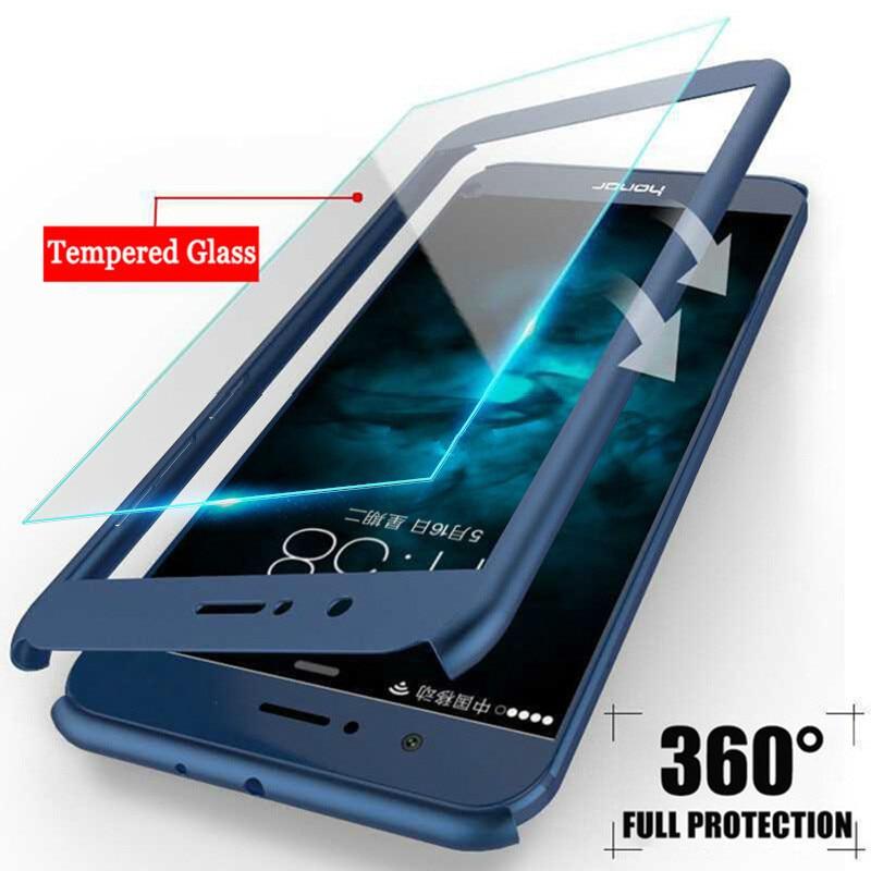 Чехол для телефона Huawei P Smart P20 P10 P9 Lite Nova 2 2i Plus Honor 6x7x8 9 9i V9 10, Жесткий Чехол со стеклом, 360 градусов