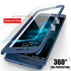 360 Degree Full Cover Phone Cases For Huawei P Smart P20 P10 P9 Lite Nova 2 2i Plus Honor 6x 7x 8 9 9i V9 10 Hard PC With Glass(China)