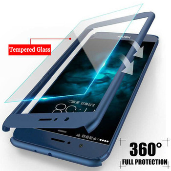 360 градусов полное покрытие чехлы для телефонов Huawei P Smart P20 P10 P9 Lite Nova 2 2i Plus Honor 6x7x8 9 9i V9 10 Жесткий ПК со стеклом