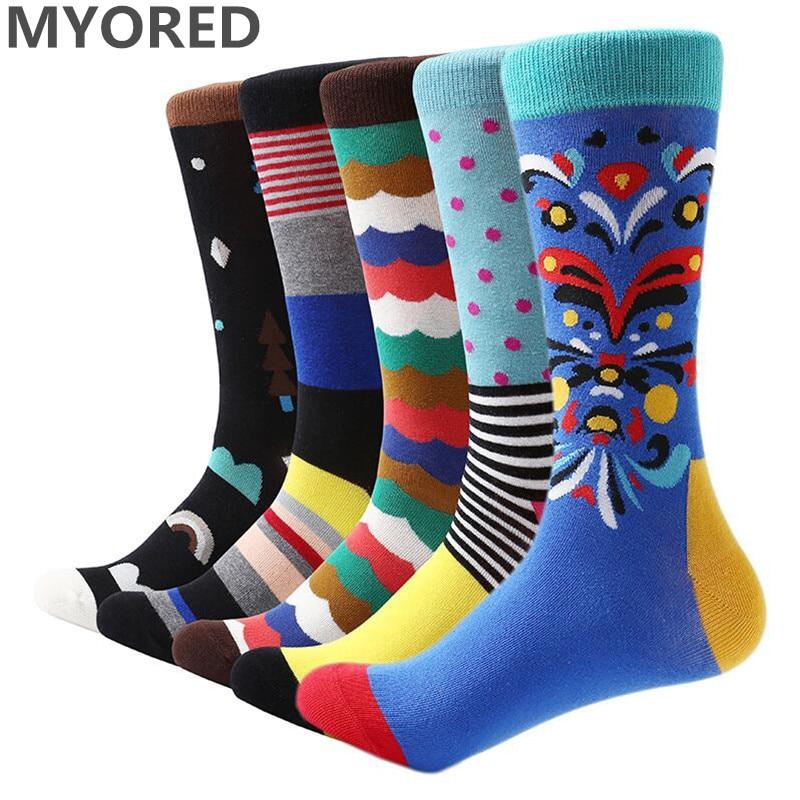 MYORED 5 pair/lot men socks cotton colorful funny sock man casual dress sock wedding gifts party socks