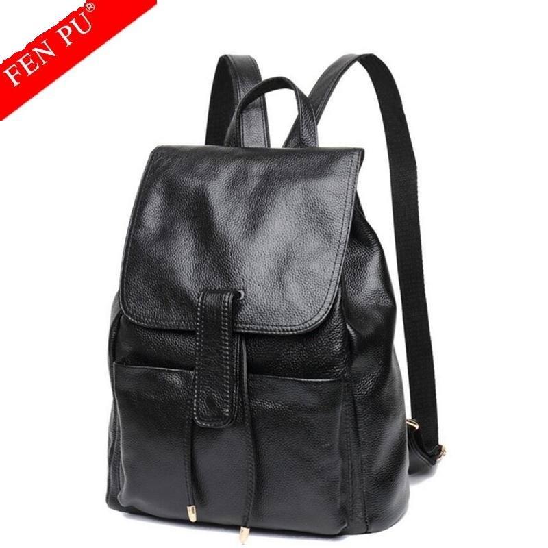 Genuine Leather Backpacks Women School Style Cowhide Travel Bag Real Leather Backpack Female Brand Designer Women Travel Bags
