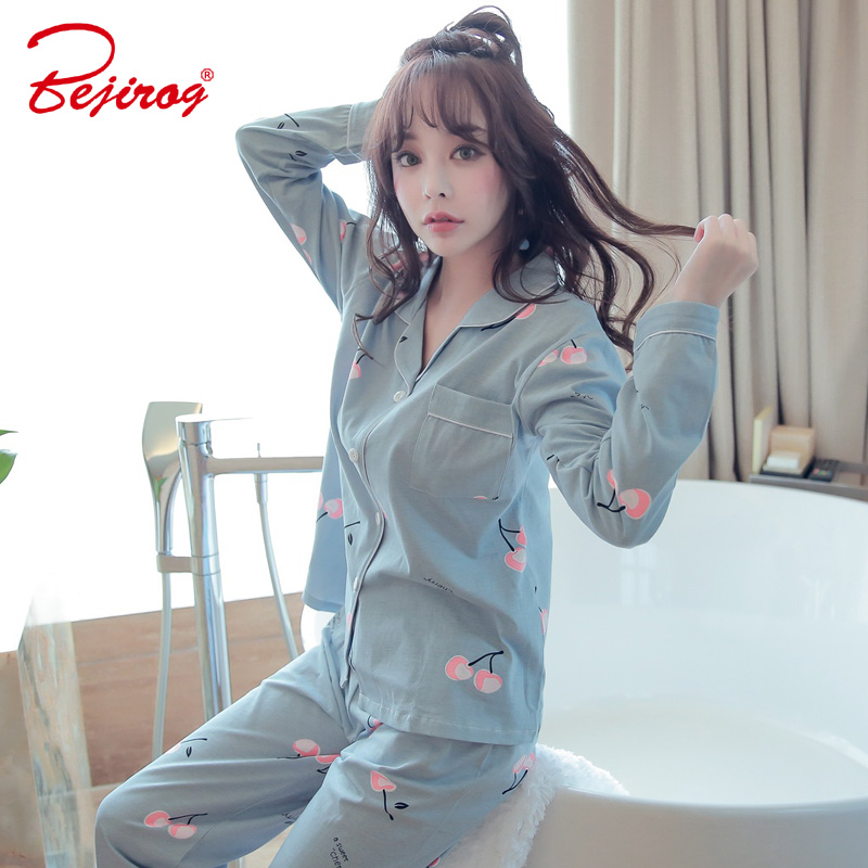Bejirog cute girl pajama set for women cotton sleepwear long sleeve homewear casual pijama 2 piece nightie autumn female costume