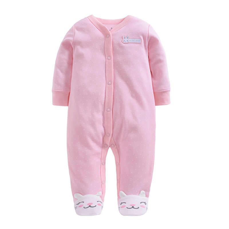 Комбинезон для новорожденных девочек с рисунком кролика, хлопковый комбинезон с длинными рукавами для маленьких девочек, домашняя одежда для новорожденных, Пижама для младенцев
