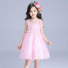 Fairy Beatiful Girls Dress Child Pink Flower Girl Vestidos 2017 Fancy Kids Clothes for 3 4