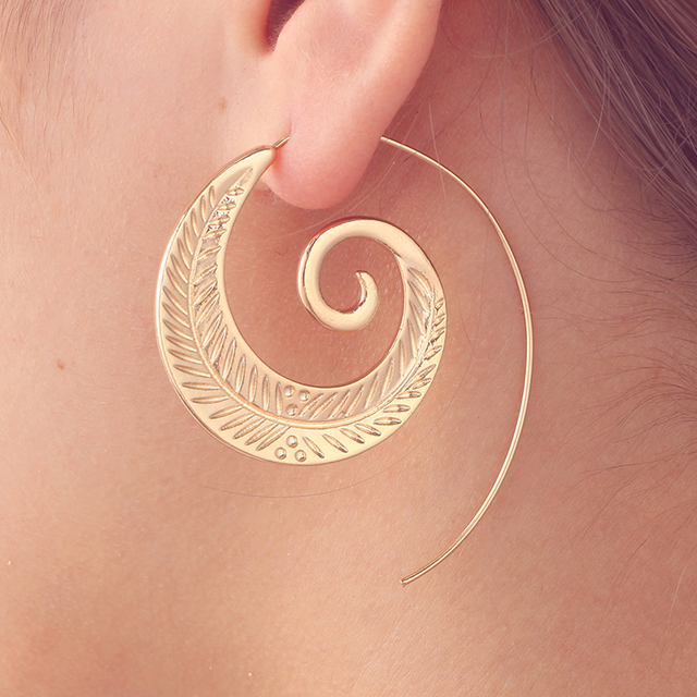 Tocona Ethnic Spiral Earrings exaggerated Whirlpool Gear Earrings for Women Hoop Gypsy Tribal Earrings Jewelry  3
