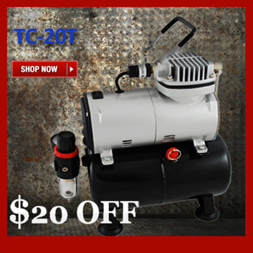 Colopaint Mini Portable Air Compressor TC 20T with Air Tank Body Painting Temporary Tattoo