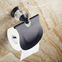 Free Shipping 2pcs Promotional Price Crystal Wall Mounted Antique brass Black Toilet Paper Roll Holder Tissue Box Holder ZR2323