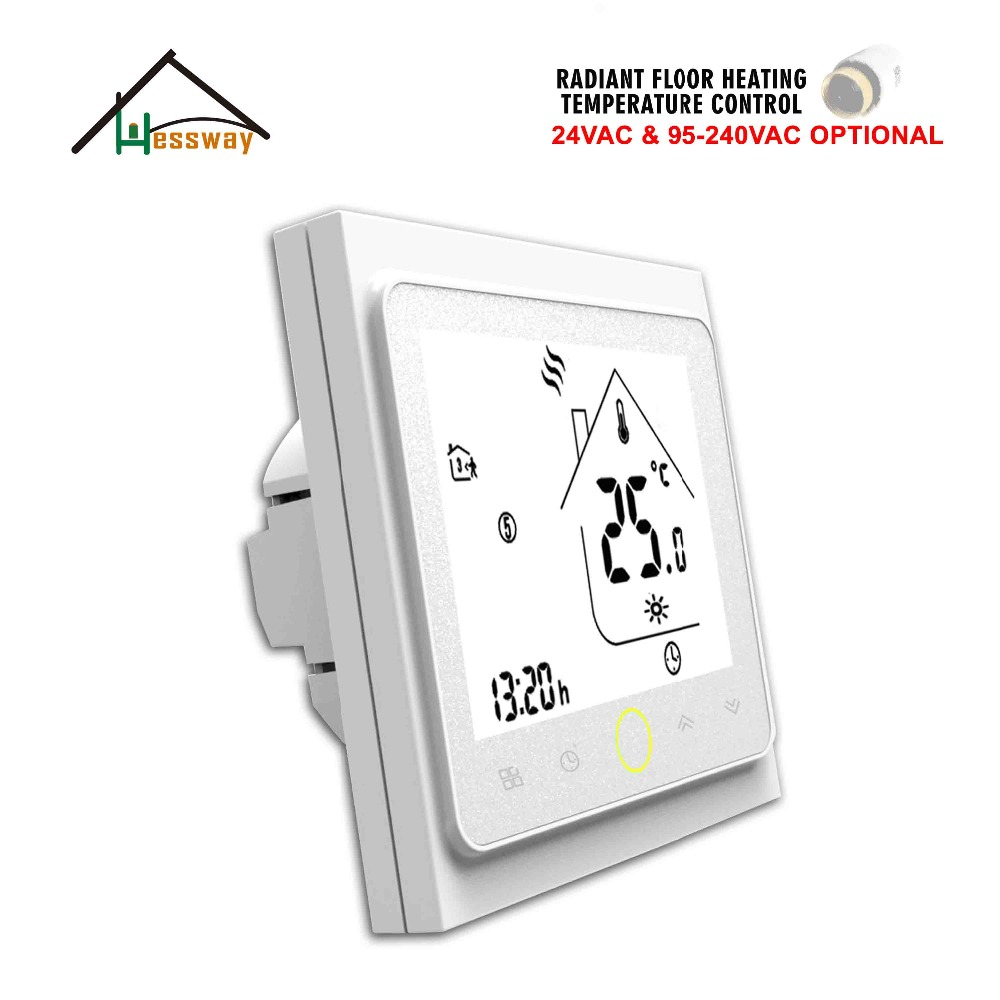 HESSWAY 24V 95-240VAC 3A 6 Period Daily Programmable Water Heating Radiator Thermostat For Warm Floor