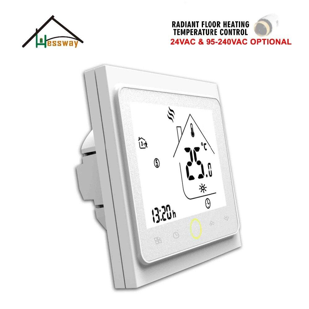 HESSWAY 24 V 95-240VAC 3A 6 período programável diariamente radiador de aquecimento de água Termostato para Piso Aquecido
