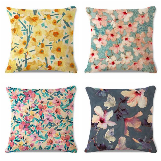 Decorative Throw Pillow Case Flower Jonquils Hibiscus Peach Floral