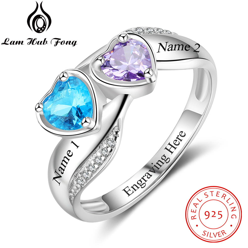 Personalized Mothers Ring Fine Jewelry 925 Sterling Silver DIY Heart Birthstone Name Wedding Engagement Rings Gift(Lam Hub Fong) personalized birthstone ring 925 sterling silver heart stones engrave name jewelry engagement gift mother rings ri101793