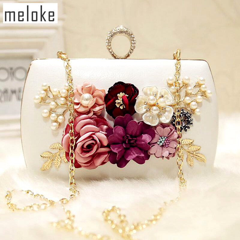 Meloke 2019 high quality luxury handmade flowers evening bags brand dinner clutch purse with chain flower banquet bags  MN258