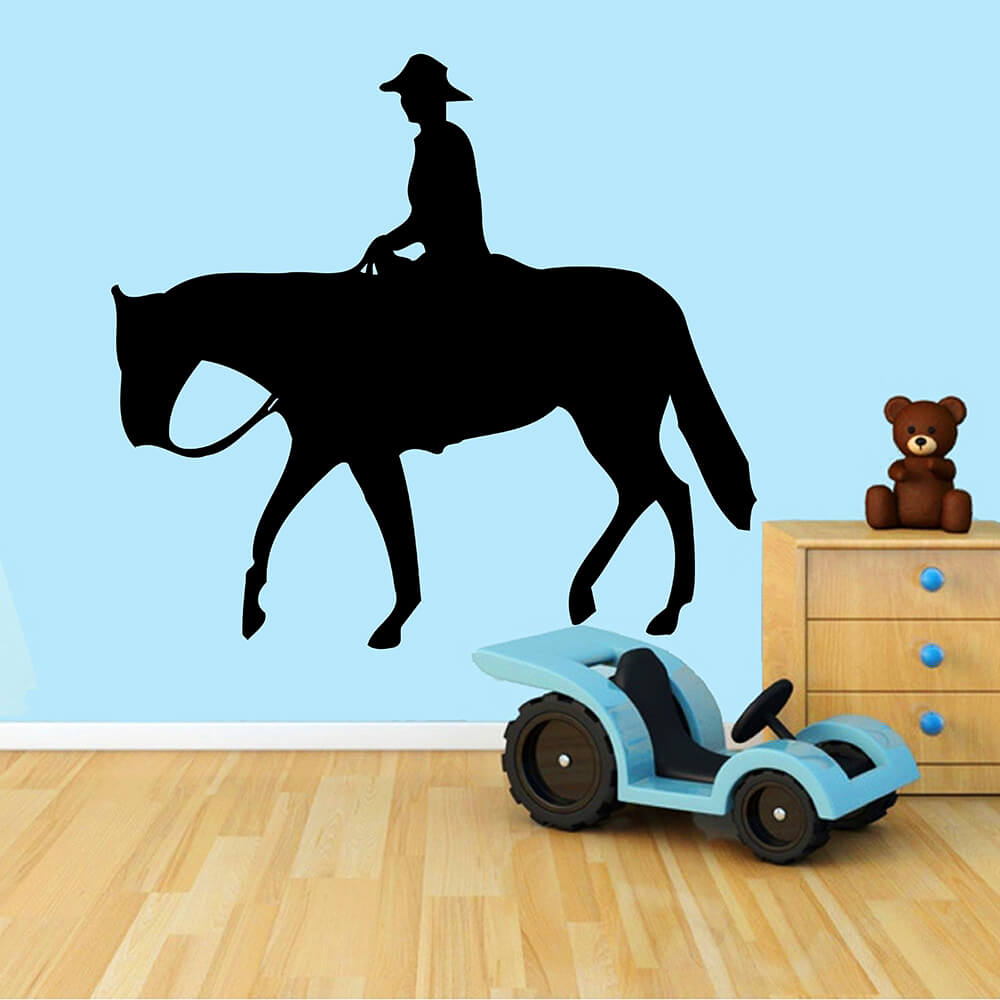 Zuczug 59 55cm Black Wall Stickers Equestrian Wild West Cowboy Mustang 3d Removable Wall Decals Home