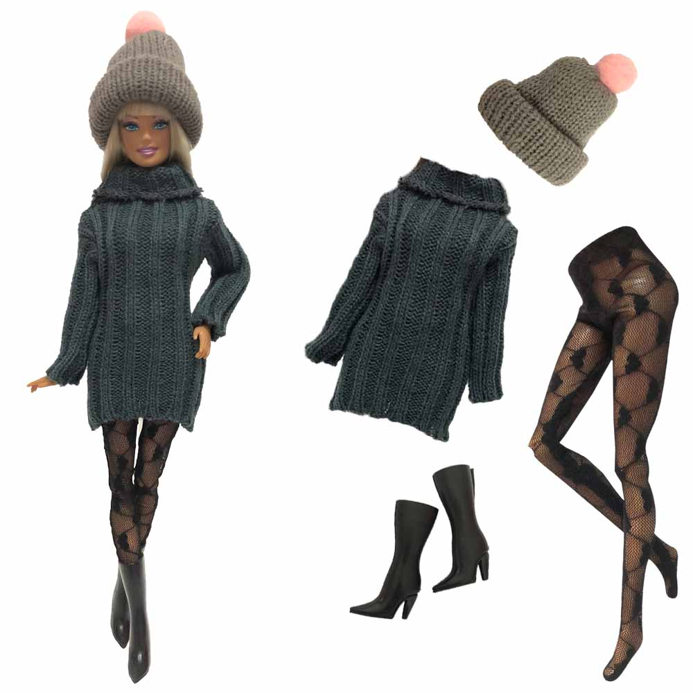 NK 4 Items/Set Doll Dress Fashion Model Coat Outfit Daily Sweater Hat+Shoe+Stocking For Barbie Doll Accessories Baby Toys 05C DZ