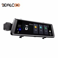 Dealcoo Car DVR 10 inch IPS Screen Digital Video Recorder Android 5.0 GPS Navigation Video Recorder Mirror DVR Camera Dual Lens