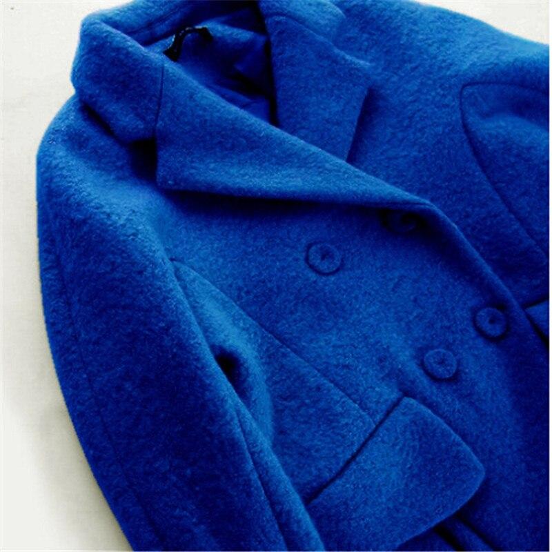 Europe Lâche Femmes C1182 Long Revers Laine Survêtement Nouveau Et Style Manteau De Épais Mode Blue Manteaux D'hiver Pardessus Veste Femme BqEUPO