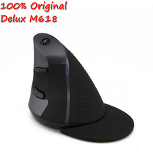 Original Delux M618 Wireless Ergonomic Vertical Mouse USB Mause10m Right Hand Optical 2.4g Upright Mice for Computer Laptop PC