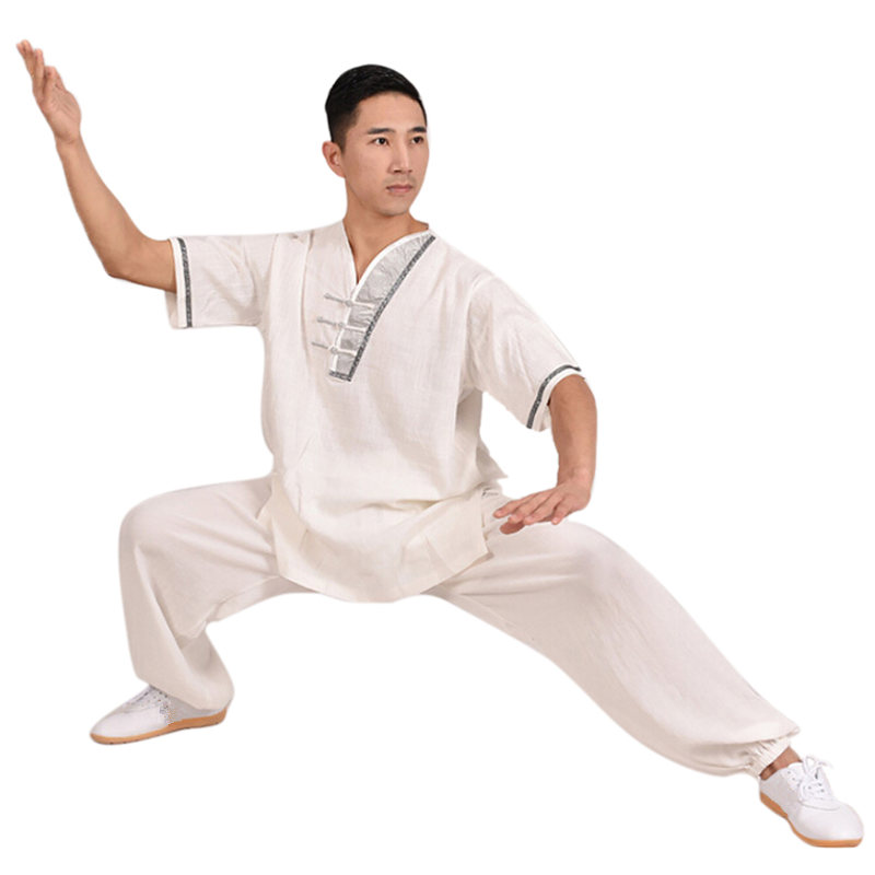 G-LIKE Summer New Style Pure Color Cotton Linen Tai Chi Suit Martial Arts Sets Half Sleeve Shirt Breathable Trousers women s kung fu tai chi martial arts suit wushu wing chun performance costumes