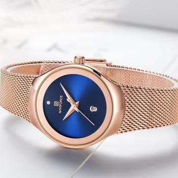 NAVIFORCE Women's Luxury Brand Fashion Dress Ladies Full Steel Mesh Strap Waterproof Quartz Watches 4