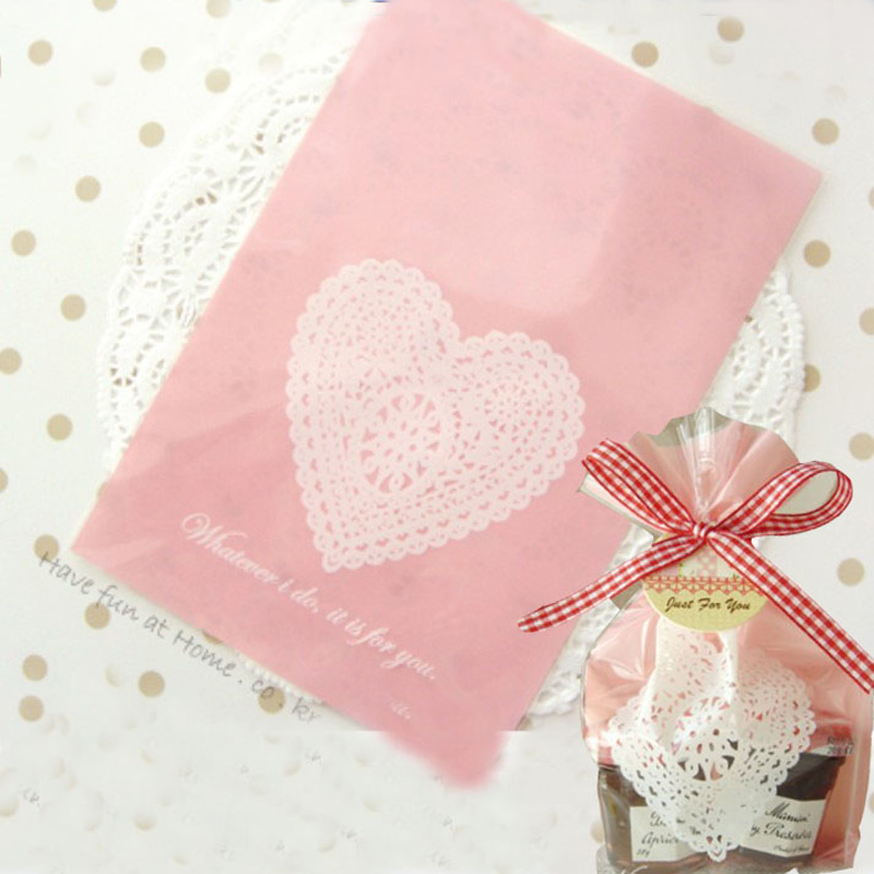 50pcs White Lace Heart Cookies Biscuits Bags Open Top Wedding Cellophane Bag Cake Candy Gift Bags