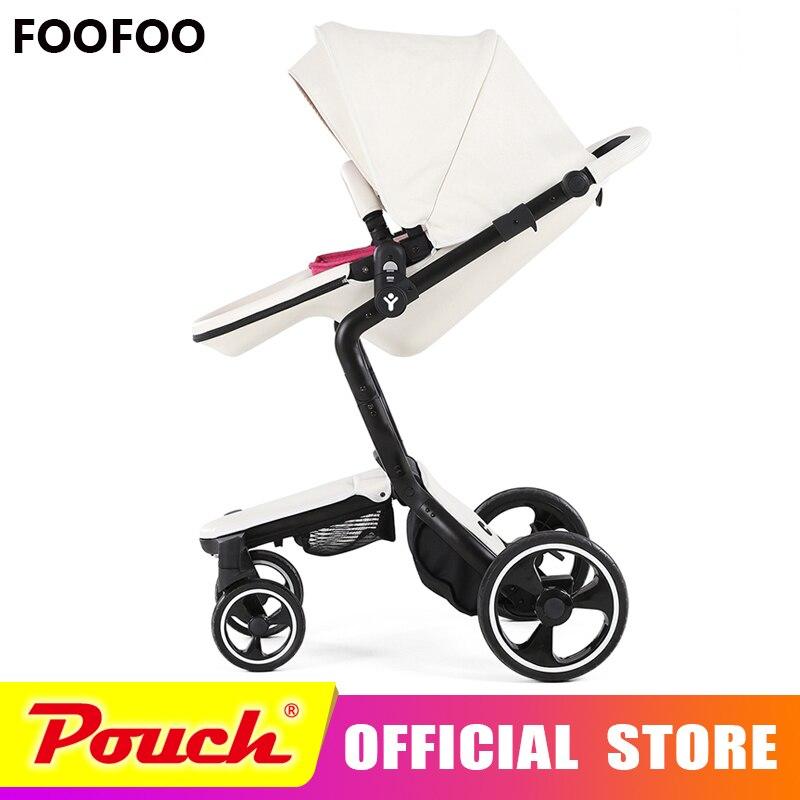 Foofoo De Luxe haute paysage poussette de bébé peut s'asseoir inclinable poussette bébé poussettes deux-way double d'été et w inter
