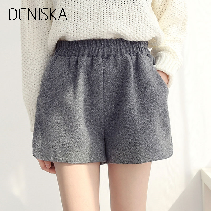 DENISKA New Women Autumn Winter Woolen Shorts Korean Casual Elastic Waist Loose Boots Shorts Female Black/gray Wool Shor
