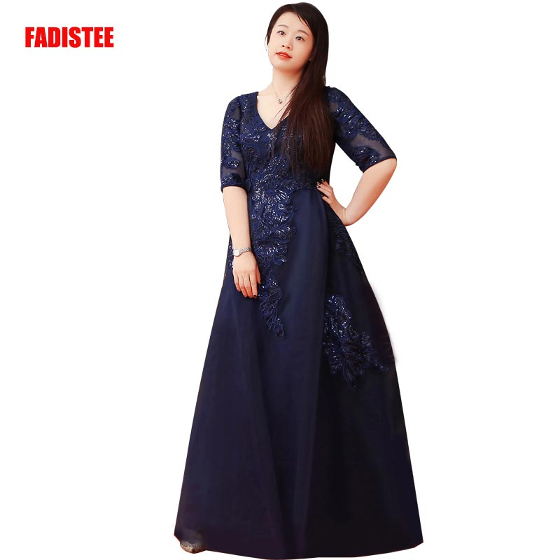 FADISTEE New Arrival Elegant Long Dress Prom Party Dresses Formal Dress Lace Half Sleeves Simple Mother Of The Bride Dresses