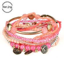 Bohemian Style Gold Coin Charm Big Beads Bracelets For Women Jewelry Boho Multilayer Glass Seed Bead Bracelet Jewelry Party Gift-cashback
