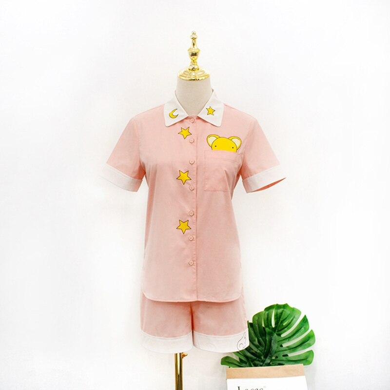 Cardcaptor Sakura x Spao Kawaii Homewear doux rose t-shirt japon Anime carte Captor Sakura CCS articles ménagers lâche décontracté Costume