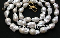 Jewelry 002083 charming SALE huge 20mm white SOUTH Reborn Keshi Pearls necklace
