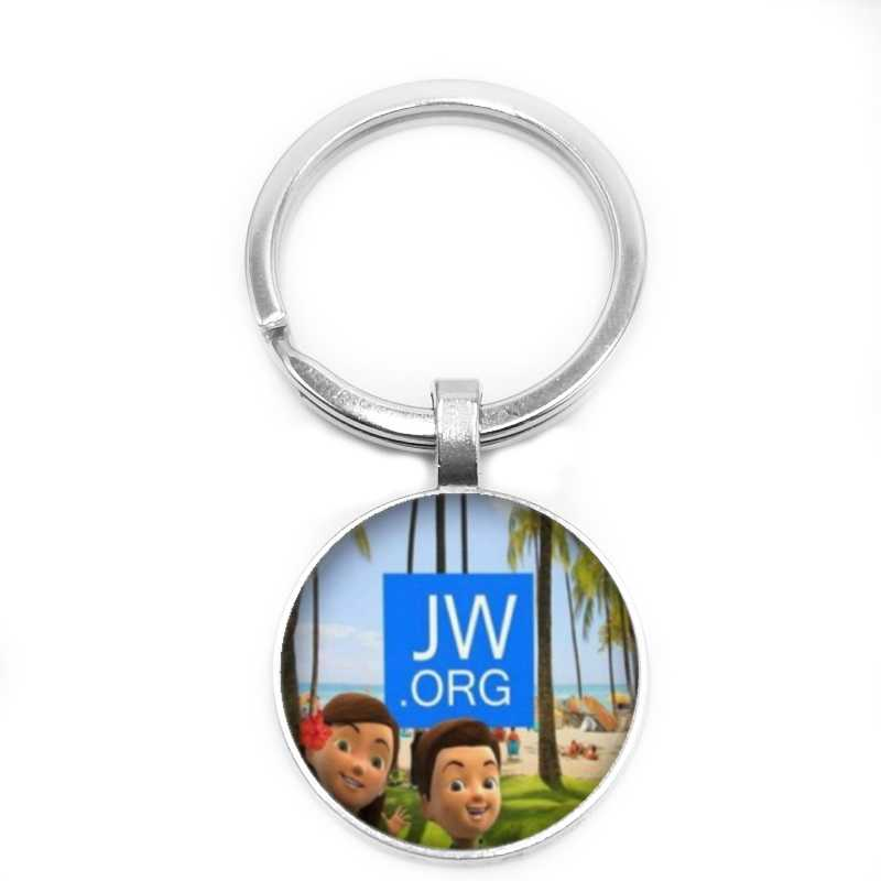2019 New Hot JW.ORG Dome Gem Key Ring DIY Handmade Jewerly Fashion Charm Car Key Ring Pendant Wholesale