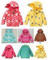 Boys Girls Girls Polka Dot trade wind and rain jacket plus velvet hooded jacket upscale children's clothing children's cotton