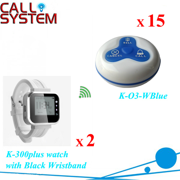 Digital table calling button system 15 transmitters with 2 watch receiver in 433mhz free DHL shipping