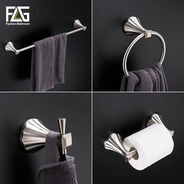 Bathroom Hardware Sets Nickel.Flg Zinc Alloy 4pc Set Bathroom Accessories Set Bath Hook Towel