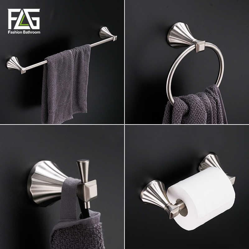 FLG zestaw akcesoriów łazienkowych kąpieli w uchwyt na ręczniki uchwyt na papier zestawy sprzętu łazienkowego matowy nikiel G119-4N