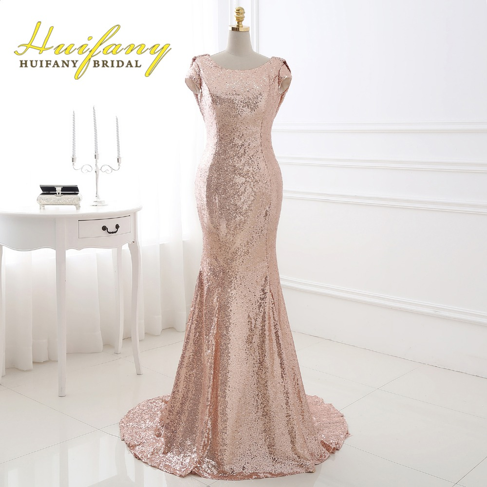 Huifany rose gold sequins bridesmaid dresses real cap for Plus size mermaid wedding dresses with sleeves