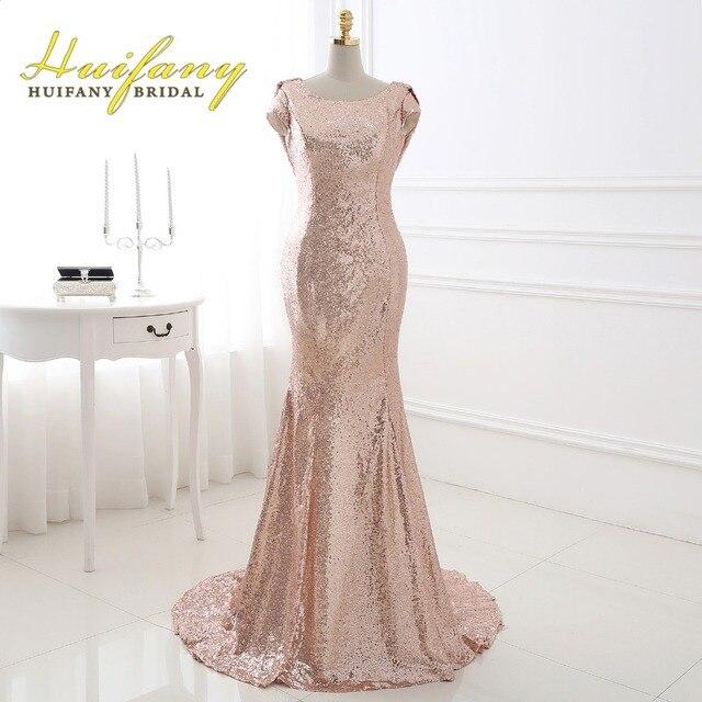Huifany Rose Gold Sequins Bridesmaid Dresses Real Cap Sleeves Low Back  Mermaid Maid Of Honor Dress
