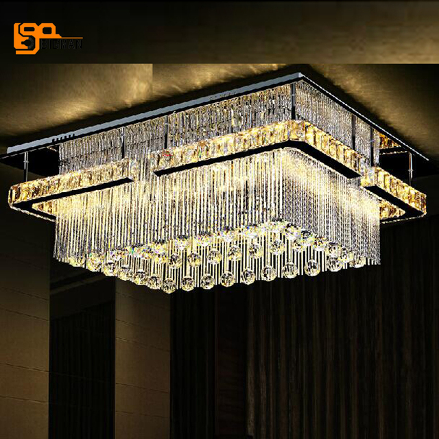 New Rectangular Led Crysal Chandelier Ceiling Mounted Crystal Light Foyer Chandeliers Promotion S