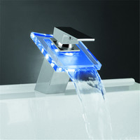 Bathroom LED faucet Glass Waterfall Faucet Color Changing Basin tap torneira led banheiro Mixer Tap