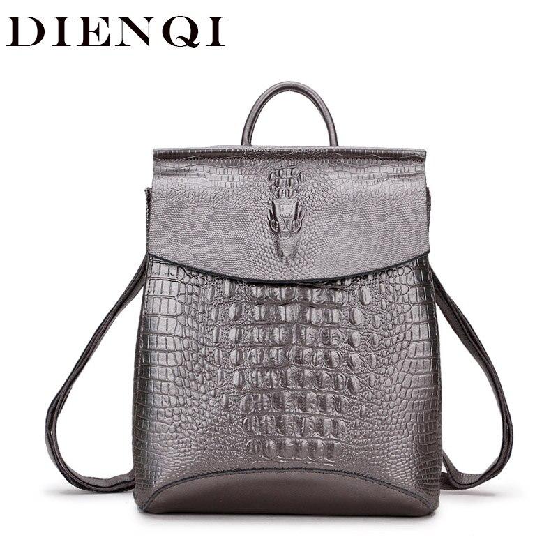 Haute qualité en cuir véritable femmes sacs à dos pour les adolescentes argent mode sac à dos femme sacs à bandoulière cartable mochila