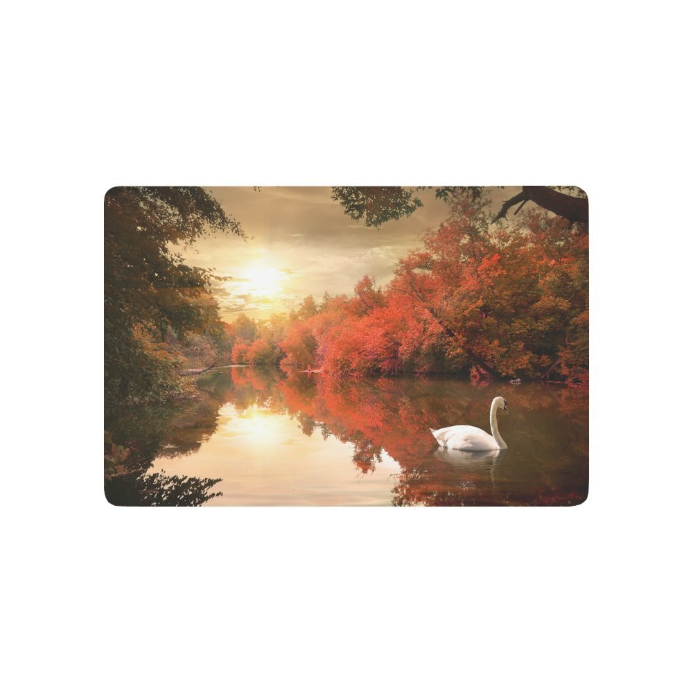 Swan on the Autmn River at Sunrise Anti-slip Door Mat Home Decor, Nature Fall Trees Indoor Outdoor Entrance Doormat