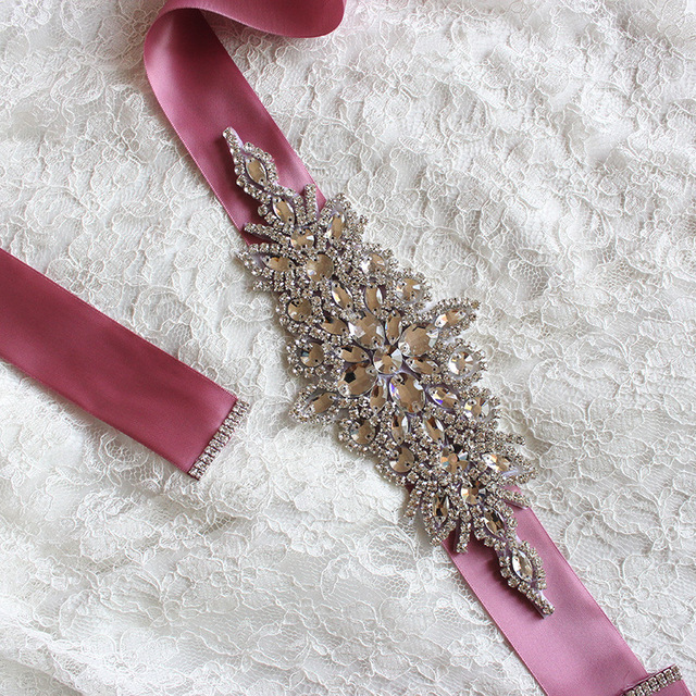 Crystals Bridal Sashes Rhinestones Wedding Belts 12 Colored High Quality Tie Back Bridal Belts with Crystals bruids ceintuur