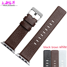 38 42mm high quality genuine leather Watch strap with stainless steel buckle