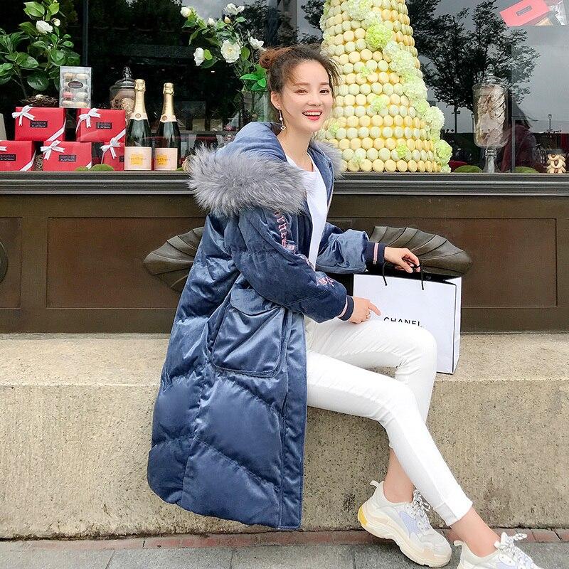 Manteau G398 Fourrure Neige Parkas Rétro Vers Femmes Le Bas De Réel Blue Capuchon Raton Outwear Veste D'hiver Épais Porter Longue Chaud Mode Laveur Femelle À dXgfgwyq