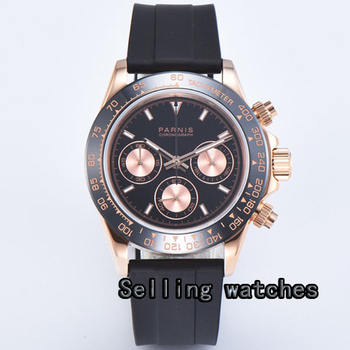 Luxury 39mm Golden PARNIS men's watch Full Chronograph luminous sapphire glass Rose gold plated case  Quartz movement watch men