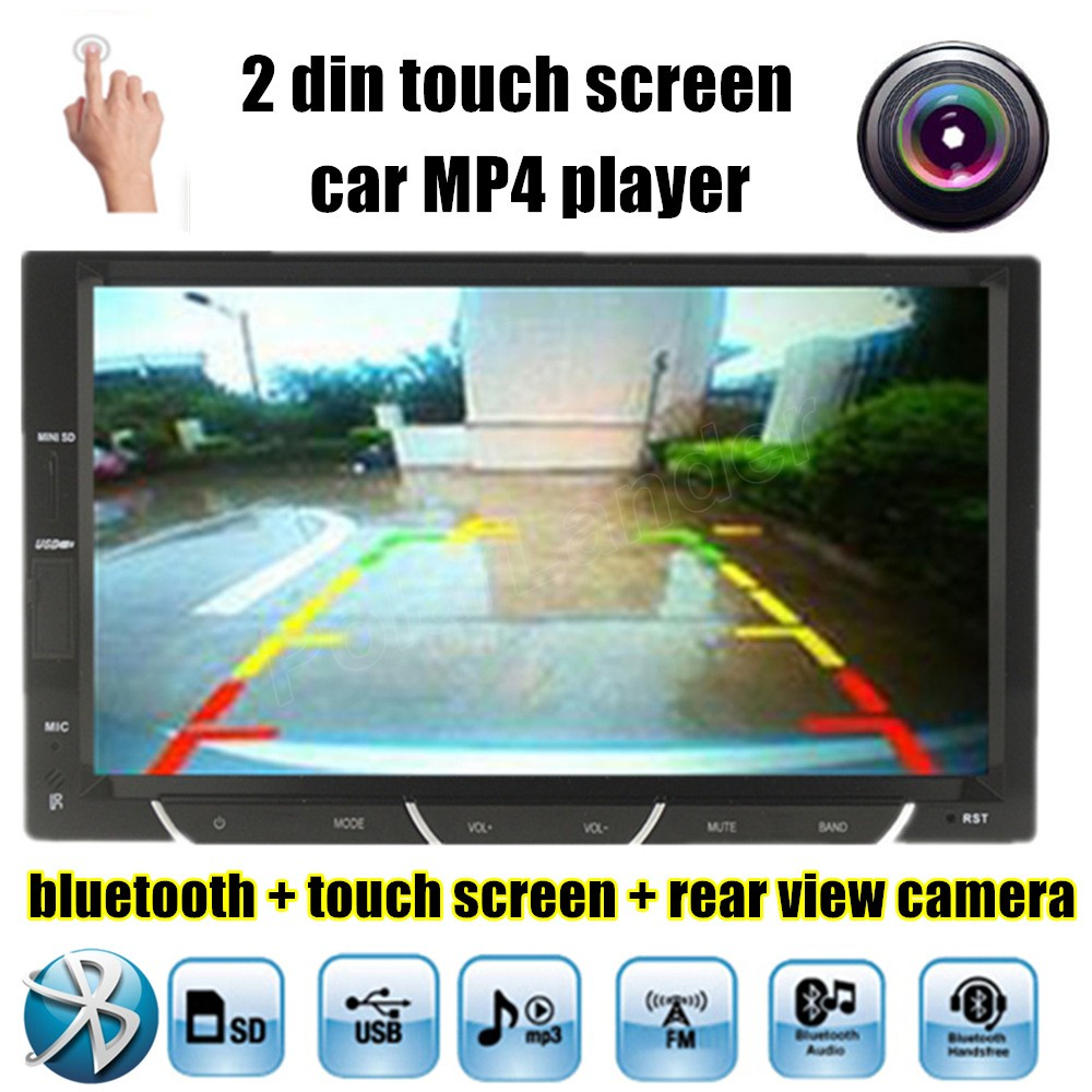 ФОТО touch screen Chinese English language Bluetooth Handsfree Car MP4 player FM Radio with SD USB for Rear View Camera 2 din 7 inch